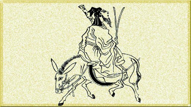 張果老倒騎驢。(看中國合成圖)