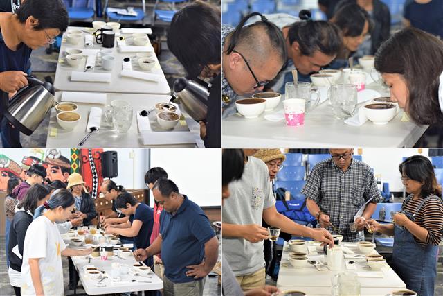 屏東咖啡農及後製班業者體驗專業級杯測,品味17種不同採收後製及烘焙風味的咖啡豆。(攝影/鄭池南)