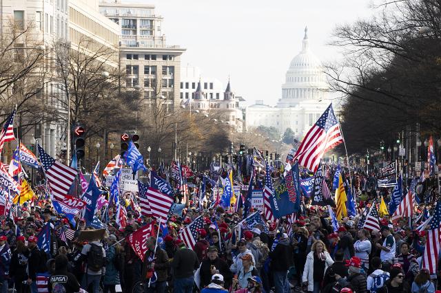 圖為上街力挺川普連任的美國民眾。(記者Tasos Katopodis/Getty Images/攝影)