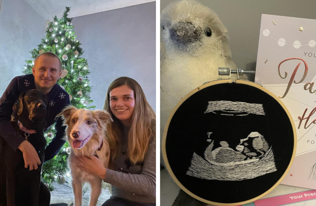 妻子艾瑪在好朋友的幫助下,將寶寶的超聲波掃描製成一幅刺繡,讓失明的丈夫內森以觸感體驗新手爸爸的喜悅。(艾瑪和內森提供提供)