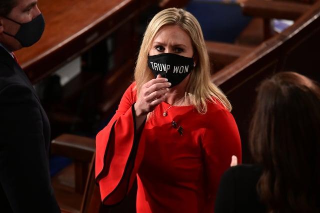 美國喬治亞州的新眾議員葛林(圖),提案要彈劾新任總統拜登。資料照。(ERIN SCOTT/POOL/AFP via Getty Images)