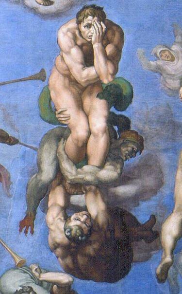 《最後的審判》中罪人被惡鬼拉下地獄時恐懼的表情。(Sailko/Wikimedia commons)