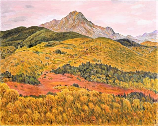 劉國東的百號油畫作品《山頂》。(臺中市政府提供)