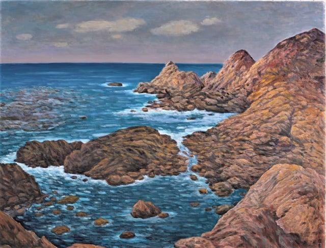 劉國東的3件百號油畫作品〈海岸〉。