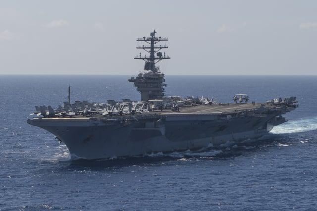 美國智庫「外交關係協會」年初公布報告,首次將美中為臺灣爆發嚴重危機,列為全球潛在衝突中最高級別。圖為美國尼米茲號航母。(美國太平洋艦隊Flickr)