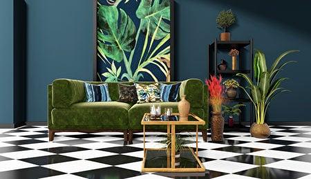 雖然是深色的牆面和沙發,但整個空間散發著輕鬆愉快的活力。(Shutterstock)