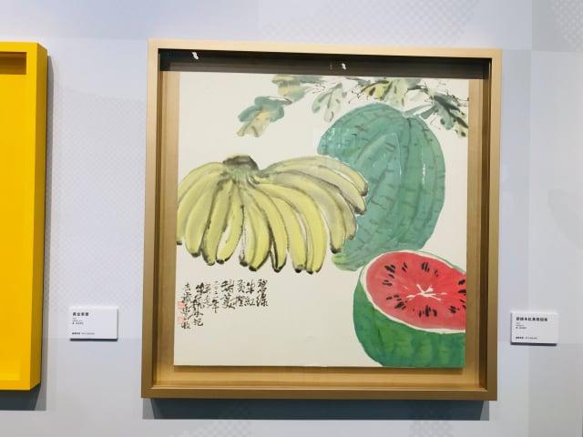 香蕉畫作。(朱孝貞/攝影)