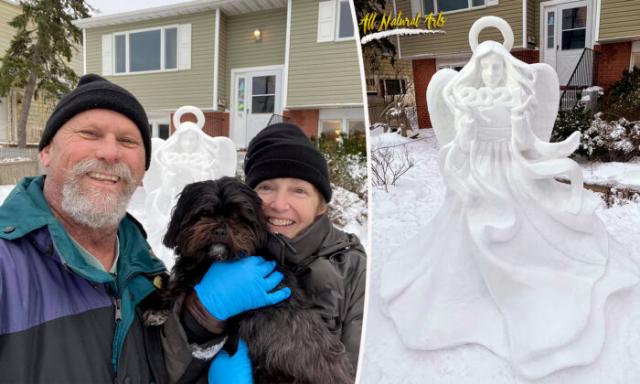 來自美國東海岸的兩位雕塑家一起在房前用雪雕塑。(Andy Gertler和Sue Beatrice提供)