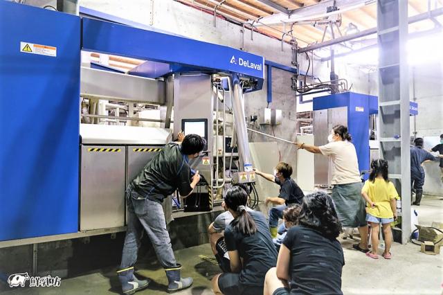 啟動擠乳機器人的第一天,豐樂牧場一家大小,連同獸醫師、臺灣代理工程師,都齊聚在機器人前面,悉心觀察每隻乳牛的狀態。(豐樂牧場提供)