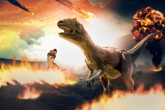 過去的研究認為,小行星撞擊地球導致恐龍滅絕。示意圖。(ShutterStock)
