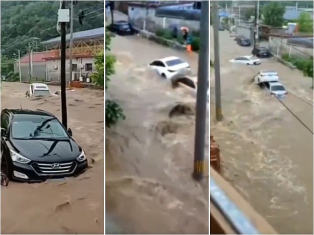 北京連日暴雨導致山體滑坡出現泥石流,路上車輛被沖走。(網路影片擷圖)