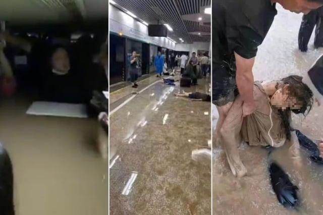鄭州7月20日大淹水,地鐵受困隧道,大水漫入車廂,導致多人死亡。(網路圖片)