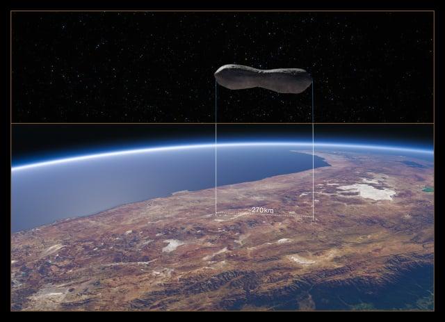 科學家於1880年發現長度達270公里的「狗骨頭小行星」。此為「狗骨頭小行星」的大小與智利比較的示意圖。(European Southern Observatory)