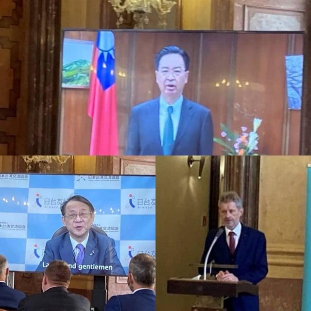 外交部長吳釗燮(上方)、日本台灣交流協會代表泉裕泰(左下)預錄致詞,捷克參議長韋德齊(右下)現場致詞。 (外交部提供)