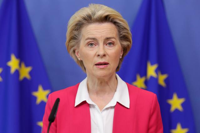 歐盟執委會主席范德賴恩9月15日提出「全球門戶」計畫,以抗衡中共的「一帶一路」倡議。(STEPHANIE LECOCQ/POOL/AFP via Getty Images)