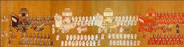 秋分夜,天子領群臣祭月於西郊。圖為北宋《大駕鹵簿圖書》局部,表現皇帝前往城南青城祭祀天地時的宏大場面。(公有領域)