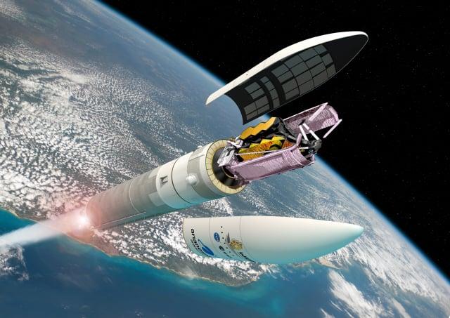 韋伯太空望遠鏡由歐洲太空總署(ESA)的亞利安5號運載火箭(Ariane 5)發射的藝術概念圖。(ESA/D. Ducros)