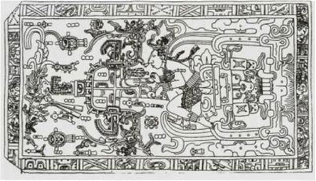 月亮永遠以正面對著地球,而幾千年前的瑪雅人居然把月亮背面的模樣刻在月亮廟門上。瑪雅碑銘神廟的浮雕中也刻畫了一個帶頭盔的青年,正在操作一台類似飛行器的機器。(正見網)