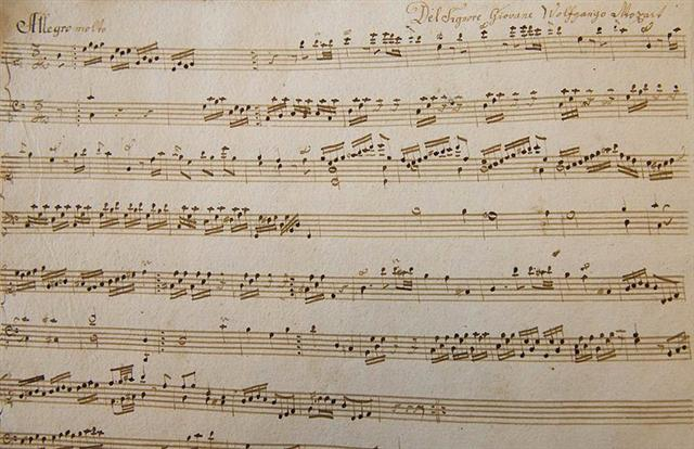 2012年3月23日,奧地利薩爾斯堡,莫札特基金會公開展示新發現的莫札特鋼琴樂譜。(Wildbild/AFP)