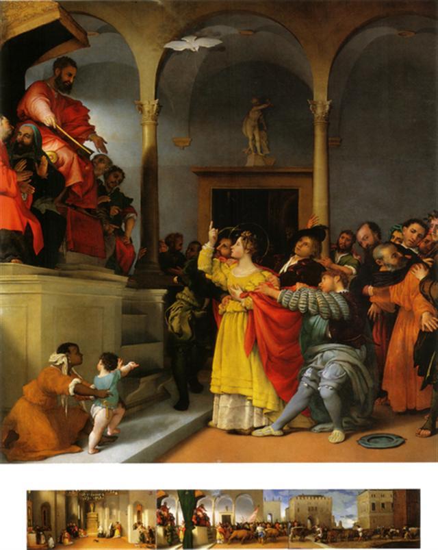 [意]洛倫佐‧洛托(Lorenzo Lotto),《聖露西面對審判官》(Saint Lucy Before the Judge),祭壇畫局部,1532年作,意大利馬切拉塔市立美術館藏。(Web Gallery of Art)