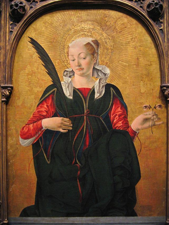 [意]弗朗切斯卡‧德爾‧科薩(Francesco del Cossa),《聖露西》(Saint Lucy),板上蛋彩畫,華盛頓國家美術館藏。(華盛頓國家美術館官網)