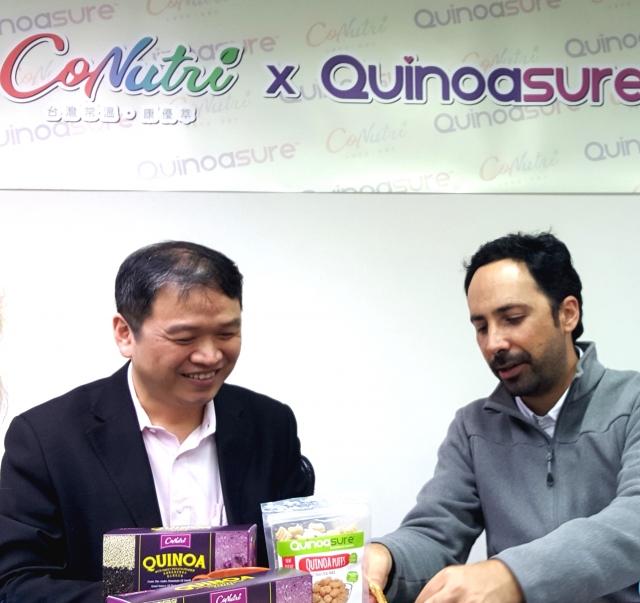 台灣常溫董事長李尚祐(左)與Factoria Quinoa執行長Luis Felipe Avella。(呂文馨/攝影)