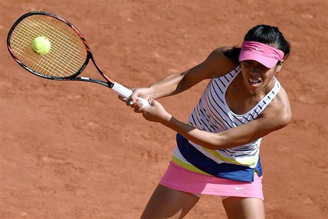 上圖為謝淑薇在法網公開賽比賽時的照片。(Getty Images)