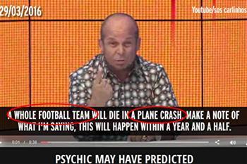 太準啦!巴西先知8個月前預言足球隊全隊空難