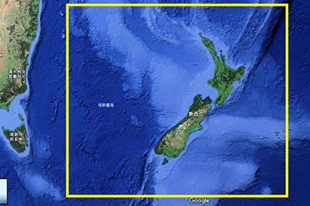 新西蘭水域下的新大陸存在示意圖。(谷歌地圖截圖)