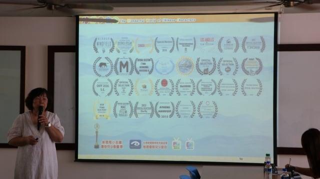 新唐人電視台漢字動畫《悠遊字在》節目製作人林善本小姐說,《悠遊字在》得到全世界那麼多的獎項。