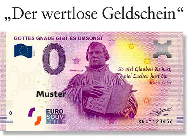 為紀念馬丁路德宗教改革500週年紀念日,一個協會得到歐洲央行批准,印刷了1萬張0歐元紙幣。圖為印有路德肖像的0歐元紙幣。(gott.net)