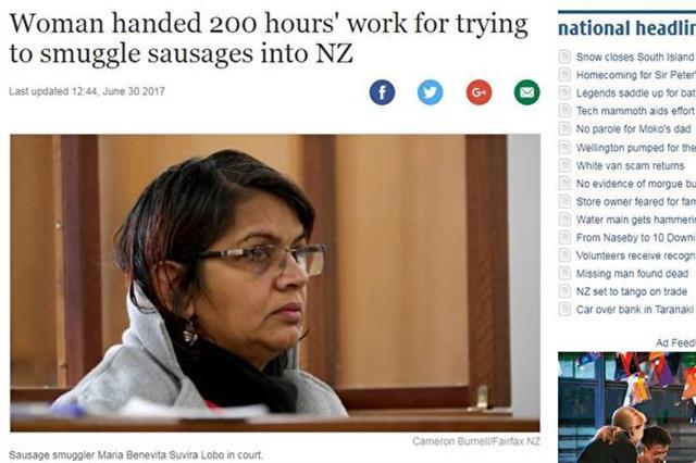 印裔女携3根香肠入境,险被罚2万元。(Stuff截圖)