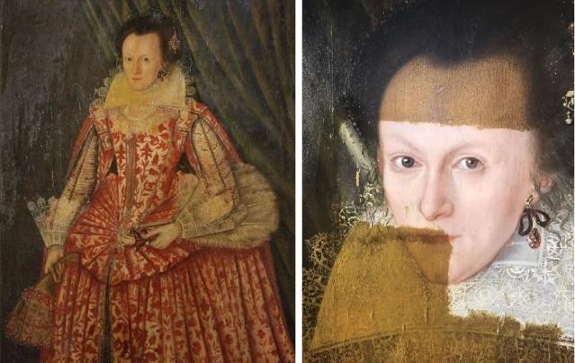 去除發黃罩漆之後(右圖),這位400年前曾精心打扮的女子,終於向今天的世人展現出她的原貌。(網路影片擷圖提供)