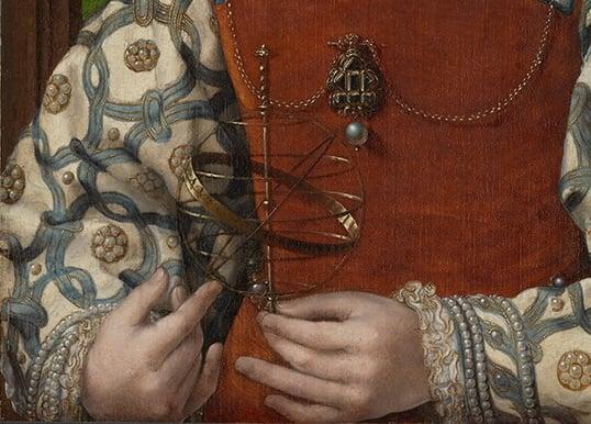 《手持渾儀的小公主肖像》局部放大圖。(維基百科公共領域 )