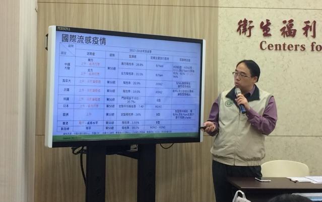 衛福部疾管署疫情中心副主任郭宏偉說明國際間流感疫情狀況。