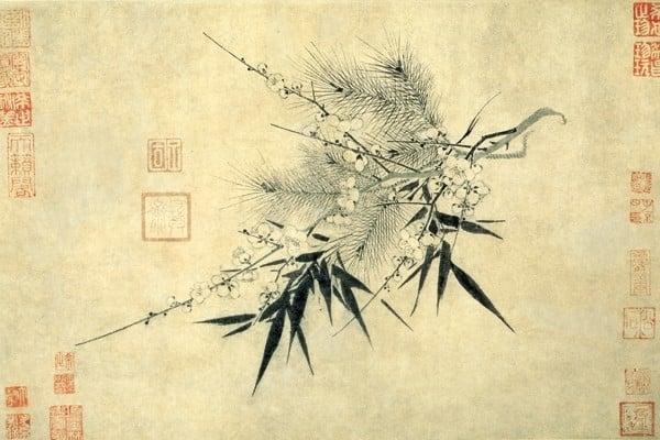 宋 趙孟堅 〈歲寒三友圖〉。(維基百科)