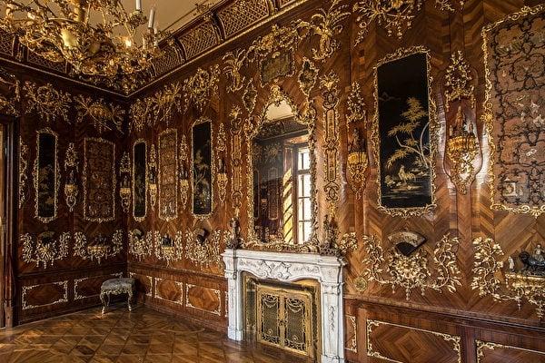 Hetzendorf城堡中,嵌有漆板的中國風房間。(Thomas Ledl/維基百科/CC)