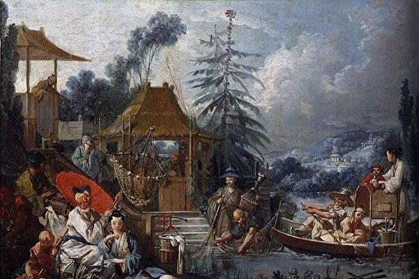 弗朗索瓦·布歇(François Boucher)的中國風油畫《La Pêche chinoise(中國捕魚風光)》,繪於1742年,亦博韋二期壁毯的設計圖之一。(維基百科)