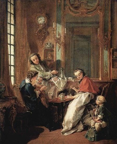 弗朗索瓦·布歇(François Boucher)的中國風油畫《早晨的喝咖啡時間》(Le Dejeuner )。(維基百科)