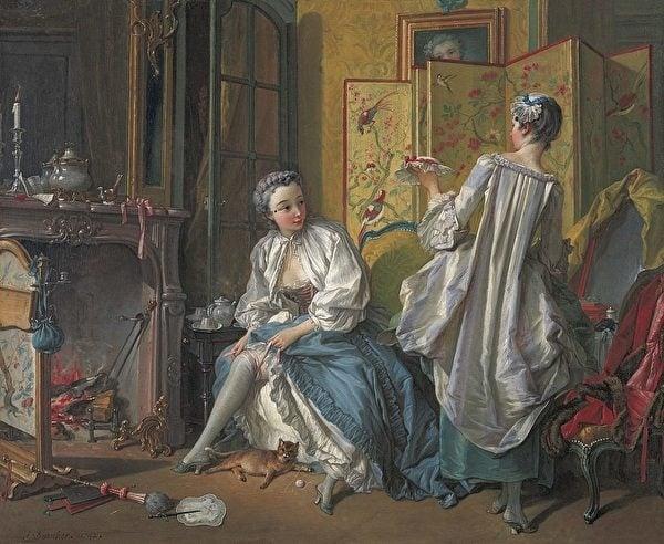弗朗索瓦·布歇(François Boucher)的中國風油畫《化妝》(La toilette)。(維基百科)