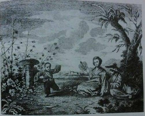 安東尼·華托(Jean-Antoine Watteau)創作的《中國和韃靼的人物畫》系列畫,後被毀損,如今剩其他畫家從原圖翻製的版畫,圖為其中一幅《中國花園》(今藏於英國牛津大學阿須摩林博物館)。(維基百科)