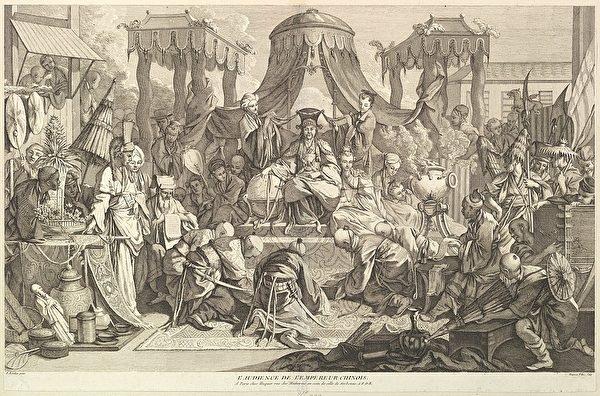加布埃勒·雨客(Gabriel Huquier)仿布歇的《中國皇帝上朝》(L'audience de l'Empereur chinoise),亦博韋二期壁毯設計稿之一。(維基百科)