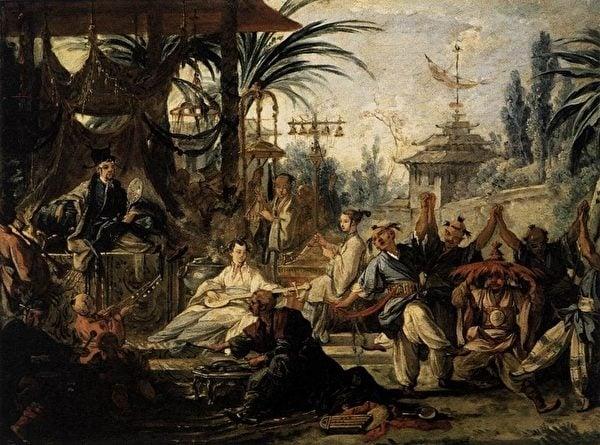 弗朗索瓦·布歇(François Boucher)的中國風油畫《中國舞蹈》(La Danse chinoise),亦博韋二期壁毯設計稿之一。(維基百科)