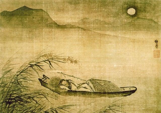 明 戴進 《月下泊舟圖》。(維基百科公共領域)