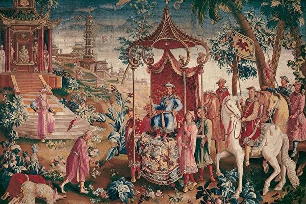 皇家波威絲織錦畫製作,皇帝出行。(Google Art Project,維基百科)