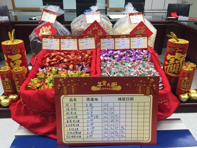 台北市衛生局公布今年依推出的新規定,年貨大街販售的牛肉乾、魷魚絲及開心果等散裝加工年節食品,除品名及原產地外,更增加標示「補貨日期」。(台北市衛生局提供)