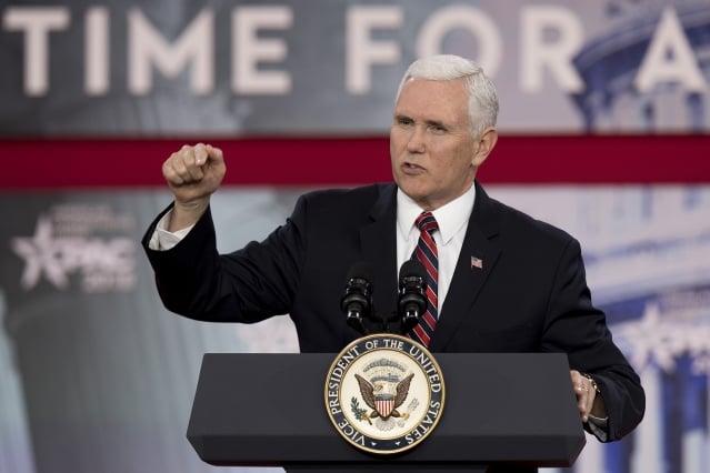 美國副總統彭斯提醒記者,金與正代表的是「這個星球上最殘酷壓制(人民)的政權(之一)」。(JIM WATSON / AFP)
