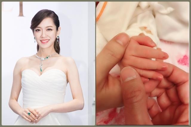 楊千霈(左,資料照)在臉書晒出女兒小手(右),分享初為人母的喜悅。(陳柏州,楊千霈臉書/大紀元合成)