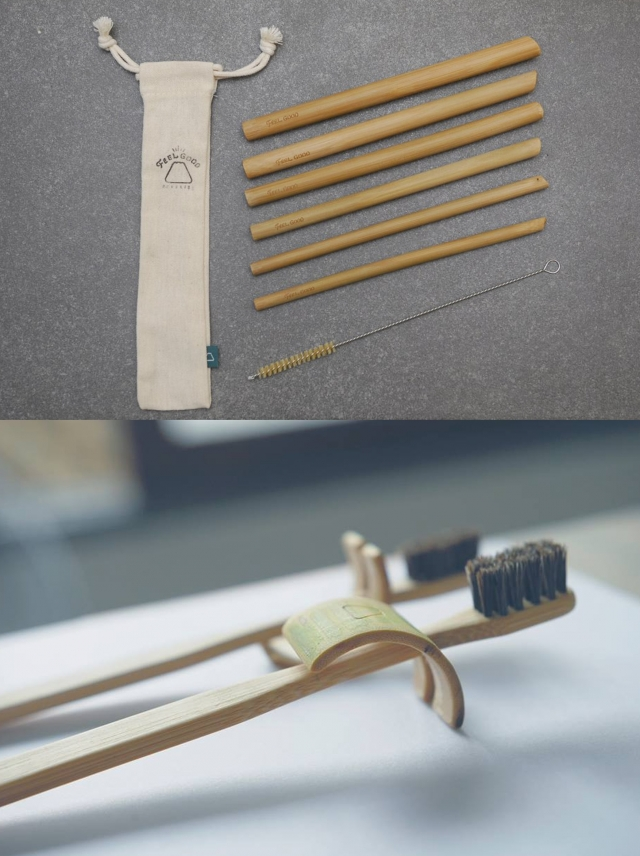 台灣在地製作的竹牙刷、竹吸管,可以在自然環境裡分解。