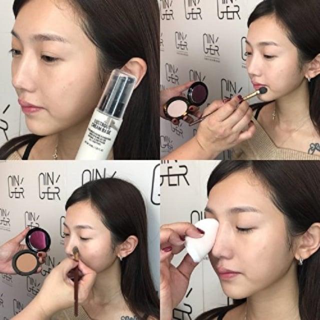 透過修容和局部遮瑕,修飾臉型和遮蓋斑點瑕疵,營造出臉部輪廓更立體視覺效果。